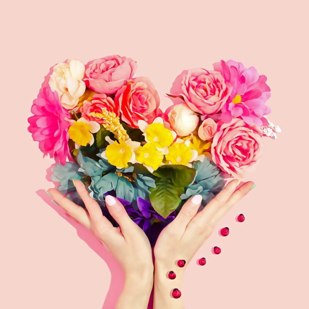 olet runo kukat muodostavat sydämen