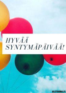 Hyvää syntymäpäivää syntymäpäiväruno syntymäpäiväonnittelut syntymäpäiväkortti ilmapalloja taivaalla